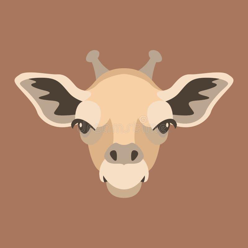 Giraffengesichtskopf-Vektorillustration flach vektor abbildung