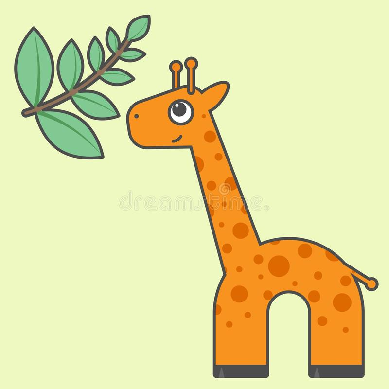 Giraffenkarikaturart, Vektorkunst für Kinder stockbild