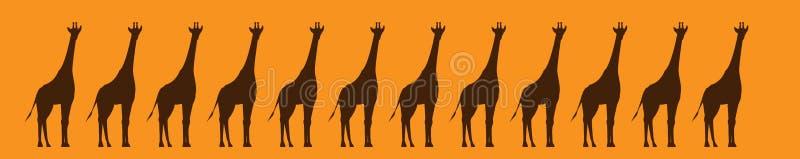 Giraffes γραφική ζώνη σχεδίων ελεύθερη απεικόνιση δικαιώματος
