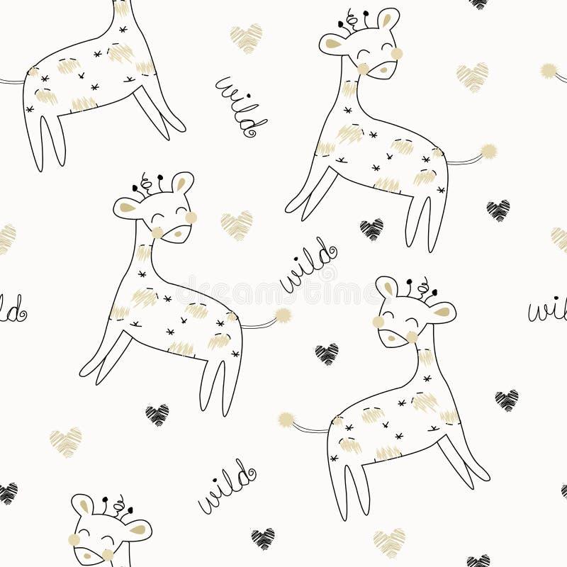 Giraffes σαφάρι άνευ ραφής σχέδιο επίσης corel σύρετε το διάνυσμα απεικόνισης διανυσματική απεικόνιση
