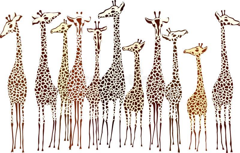 Giraffes royalty free illustration