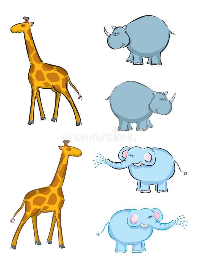 Giraffes, elephants, rhino stock illustration