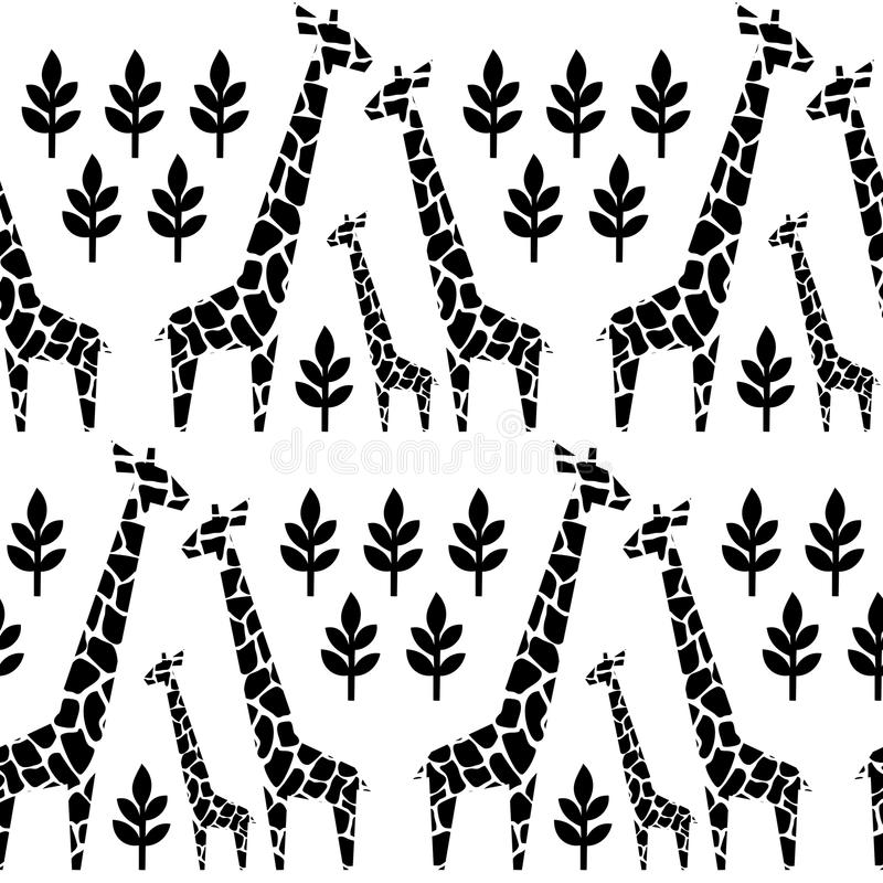 Giraffes family seamless pattern. Safari animal background. Black and white illustration savannah. royalty free illustration