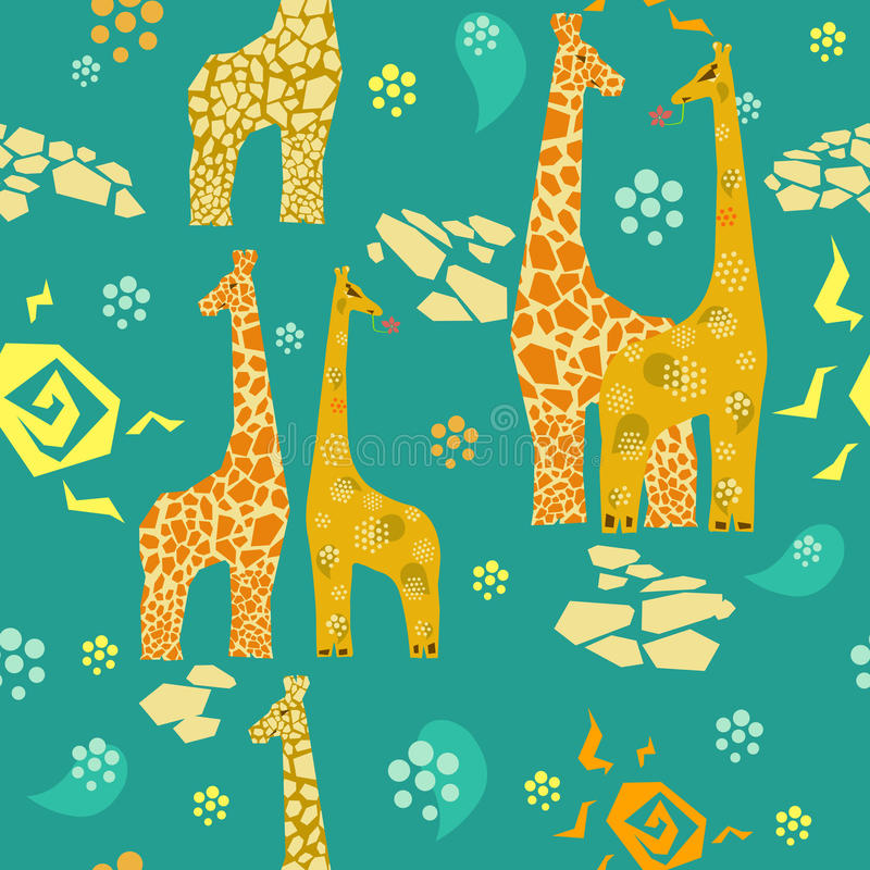 Download Giraffes seamless pattern stock vector. Image of happiness - 32209837