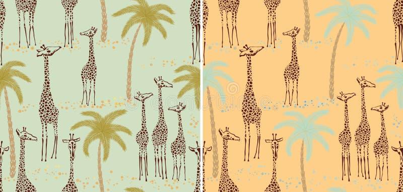 Giraffes seamless patterns royalty free illustration
