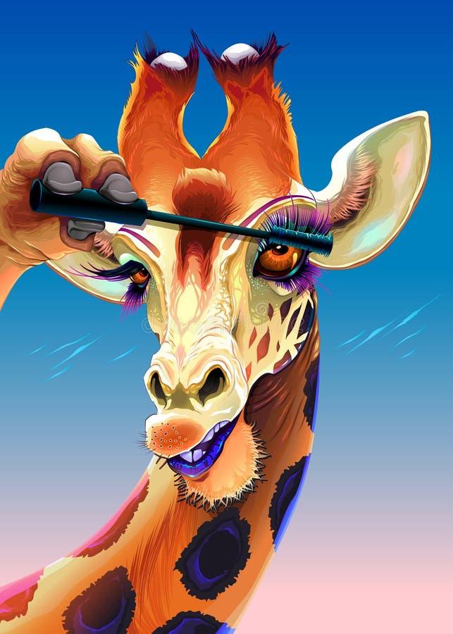 Giraffet applicerar mascaran på hennes ögonfrans stock illustrationer