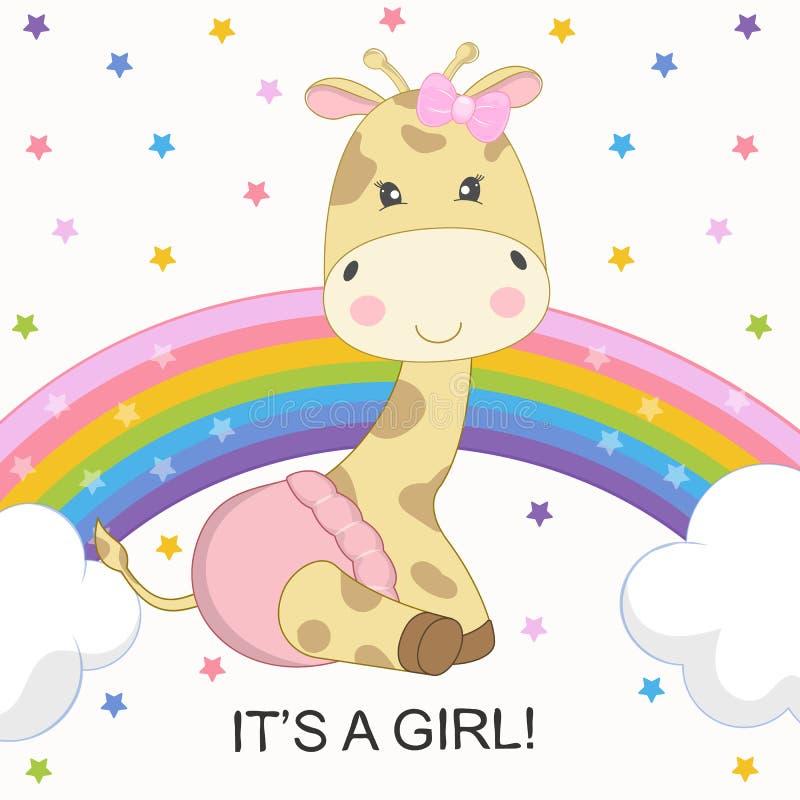Giraffet för tecknade filmen för hälsningkortet är den gulliga på regnbågen som isoleras på en kulör stjärnabakgrund stock illustrationer
