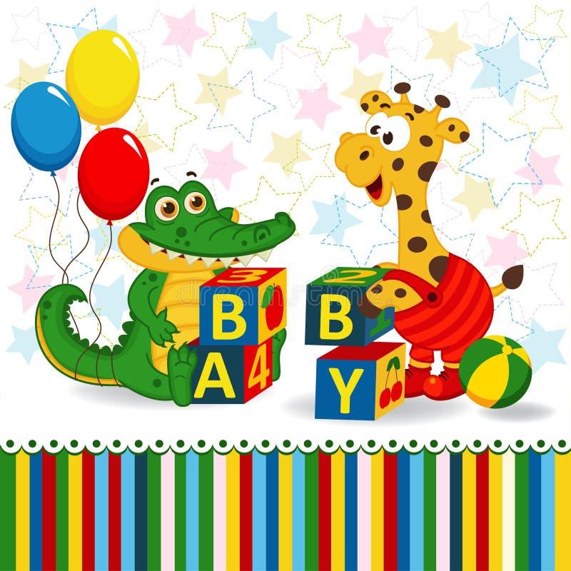 Giraffet och krokodilen behandla som ett barn kvarter vektor illustrationer