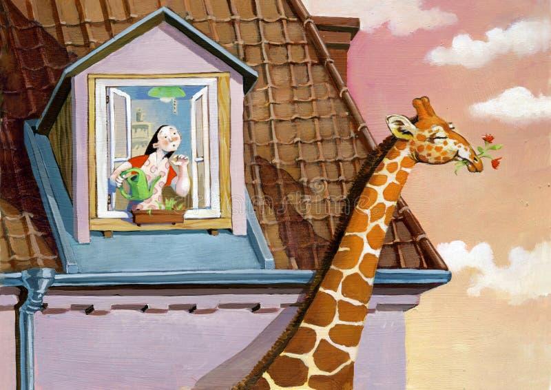 Giraffet stjäler blommor stock illustrationer