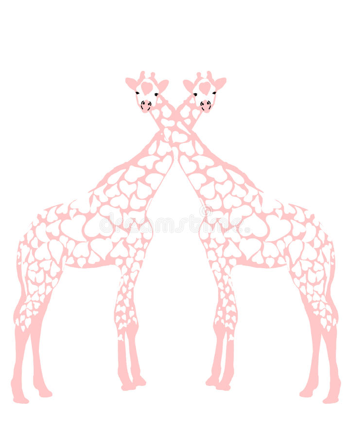 giraffförälskelse stock illustrationer