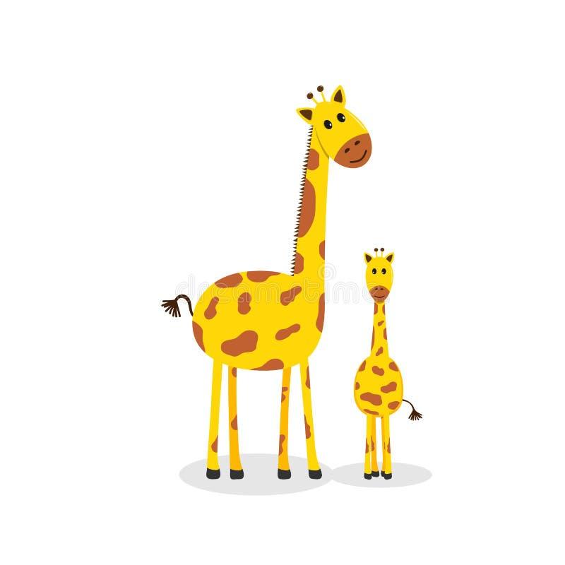 Girafffamilj, gullig tecknad filmgiraff vektor illustrationer
