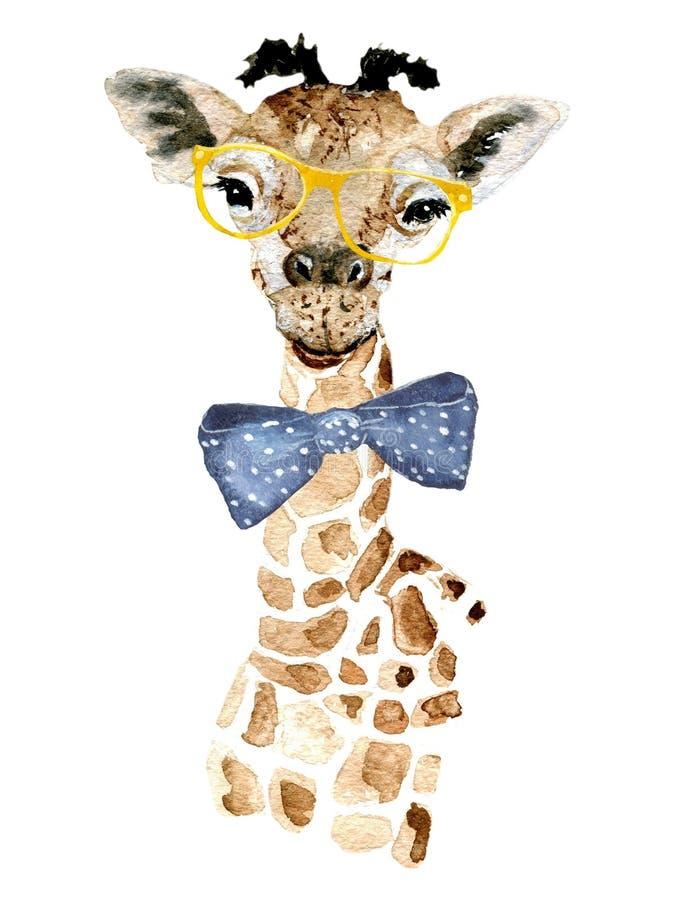 Giraffhipster royaltyfri illustrationer