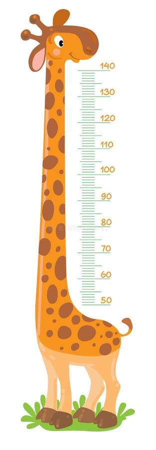 Giraffmetervägg eller höjddiagram royaltyfri illustrationer