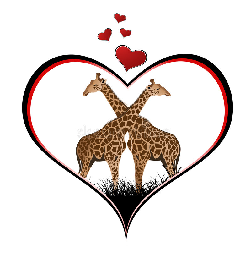 giraffvalentin stock illustrationer