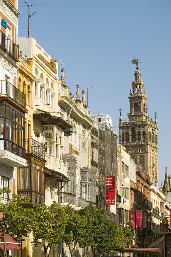 Giralda bell-tower and Almohade section of Cathedral of Sevilla, Sevilla, Andalucia, Southern Spain stock images