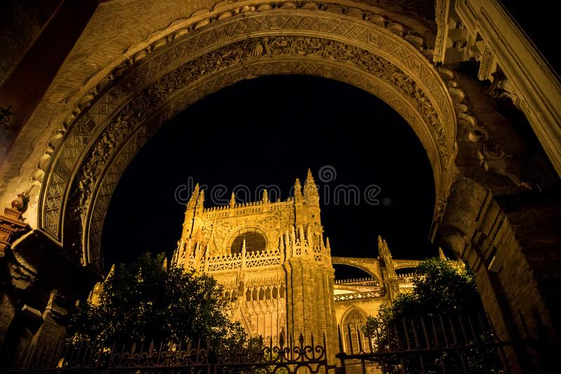 The Giralda, bell tower of the Cathedral of Seville and Real Alcazar in Seville, Andalusia, Spain royalty free stock photo