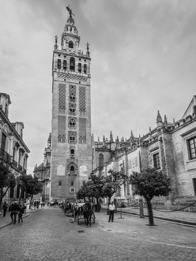 The Giralda is the bell tower of the Seville Cathedral in Seville, Spain stock images
