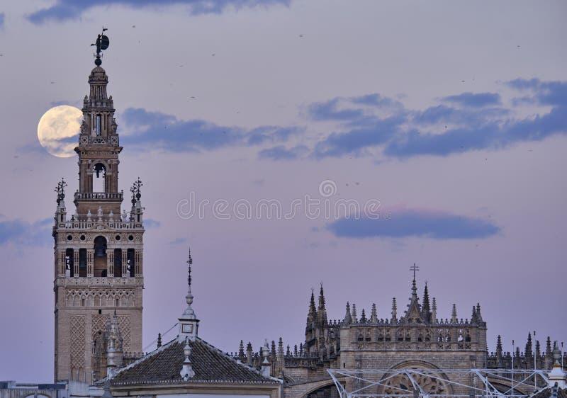Giralda De Sevilla nachts mit großem Mond stockfoto