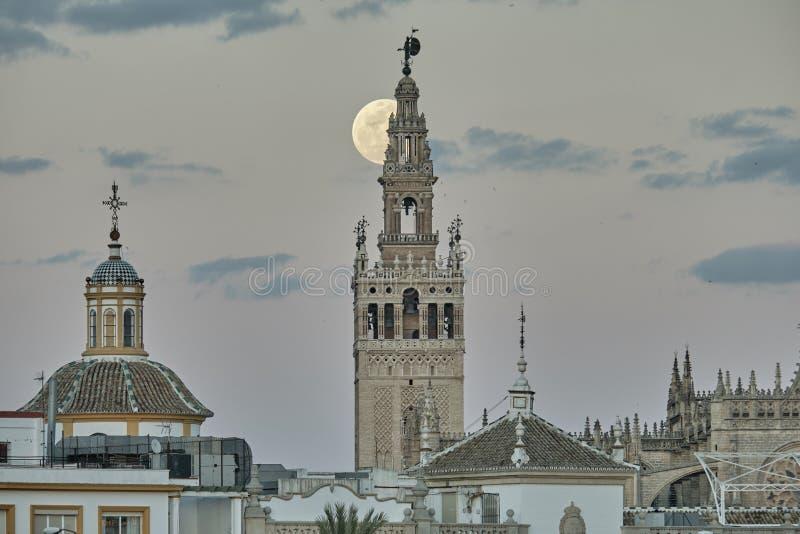 Giralda de Sevilla przy nocą z dużą księżyc fotografia royalty free