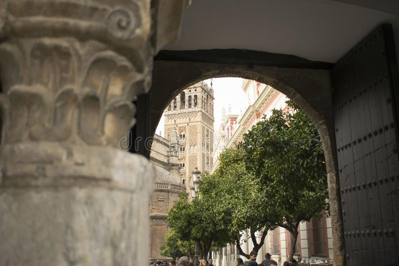 The Giralda through the door royalty free stock image