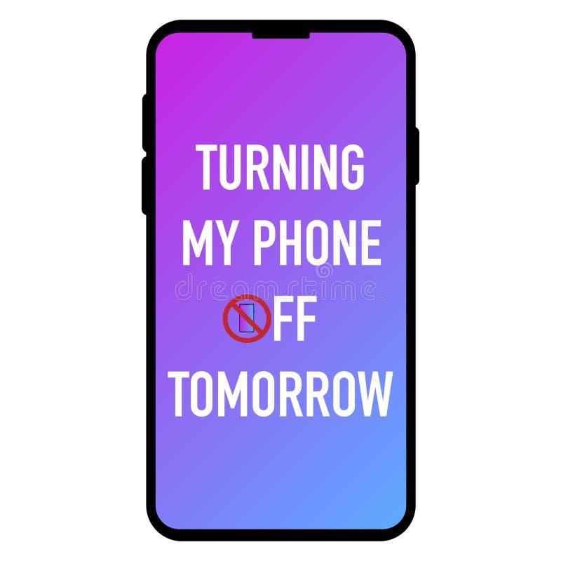 Girando meu telefone fora do amanhã na tela ilustração stock