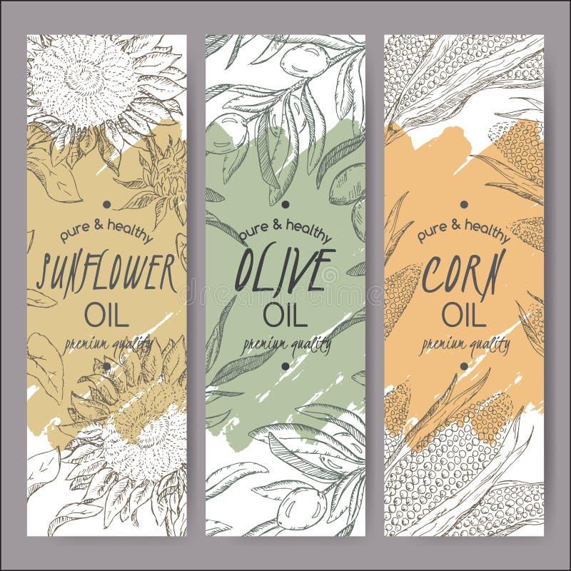 Girasol de tres vectores, aceituna, plantillas de la etiqueta del aceite de maíz libre illustration