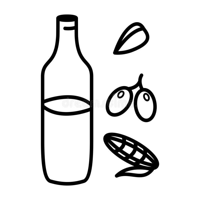 Girasole, olive, olio di mais in barattolo di vetro Linea stile di arte Illustrazione di vettore Cottura del concetto illustrazione vettoriale