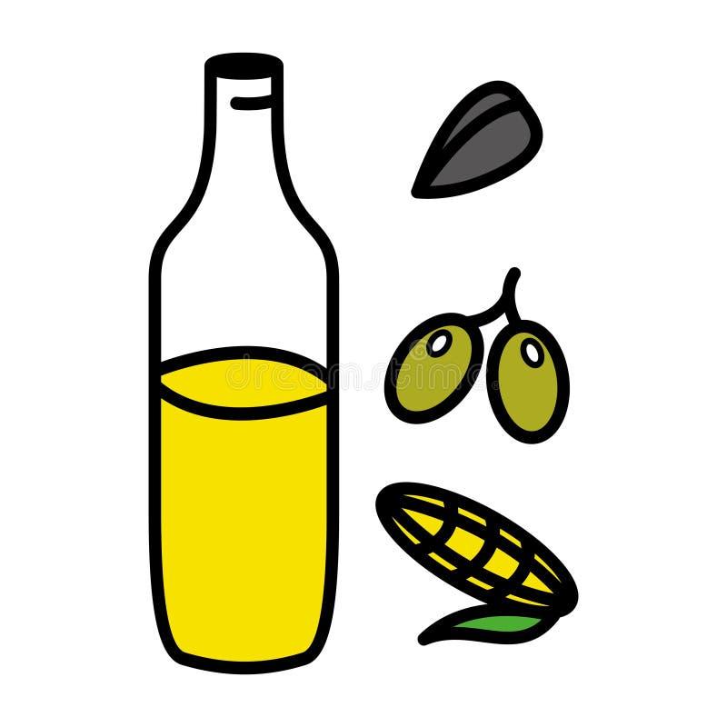 Girasole, olive, olio di mais in barattolo di vetro Stile piano Illustrazione di vettore Cottura del concetto illustrazione vettoriale