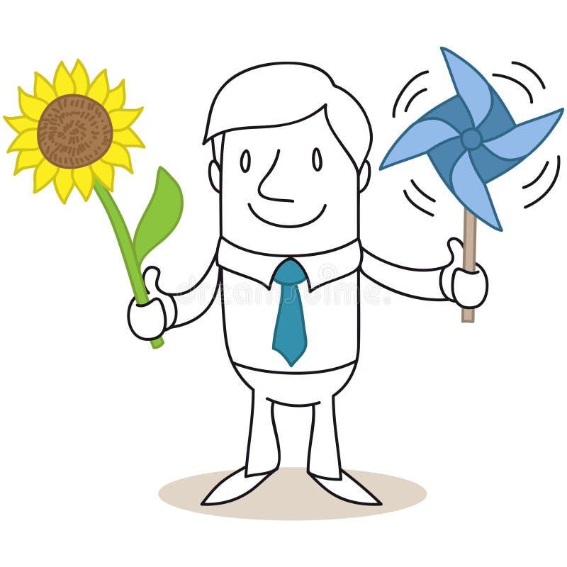 Girasole solare dell'energia eolica dell'uomo d'affari del fumetto illustrazione di stock