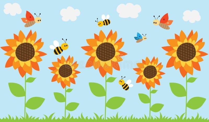 Girasoles, abejas y mariposas del verano ilustración del vector