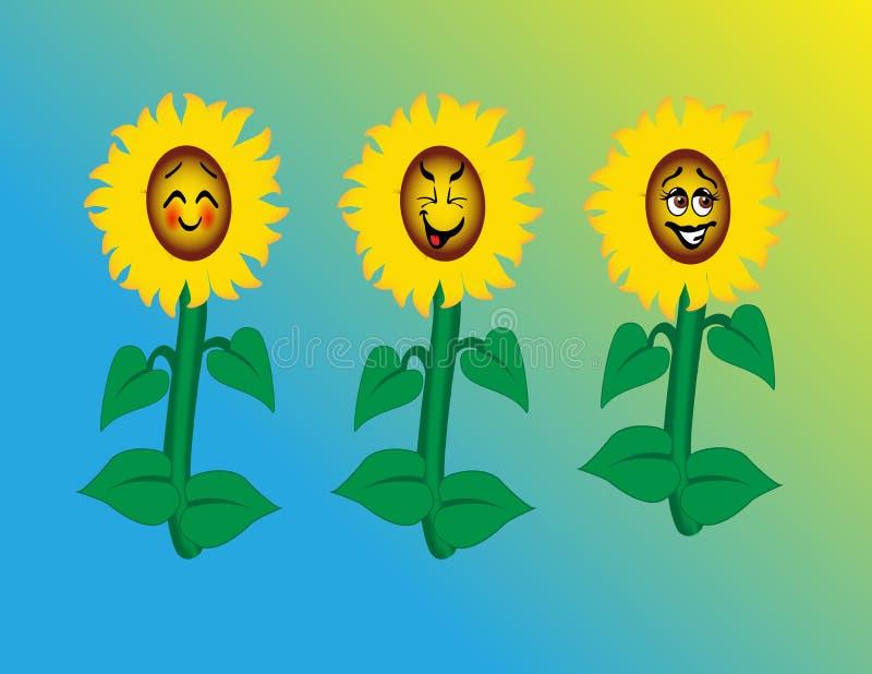 Girasoles con las caras felices de la historieta ilustración del vector