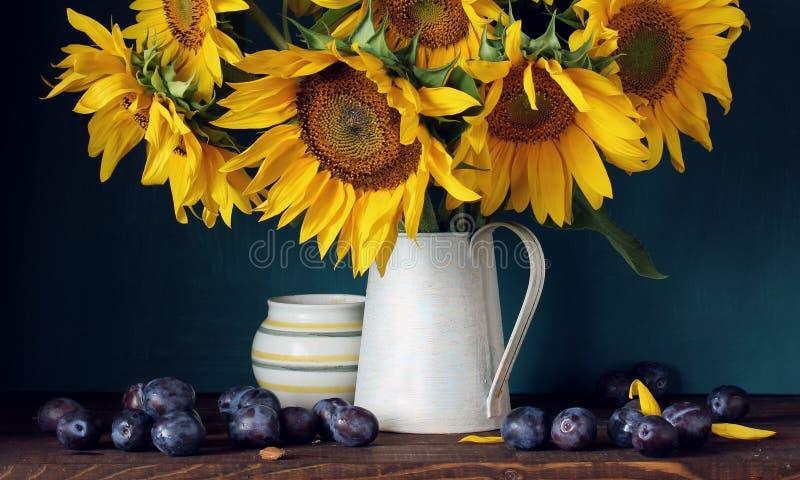 Girasoles y ciruelos púrpuras Flores y fruta fotos de archivo libres de regalías