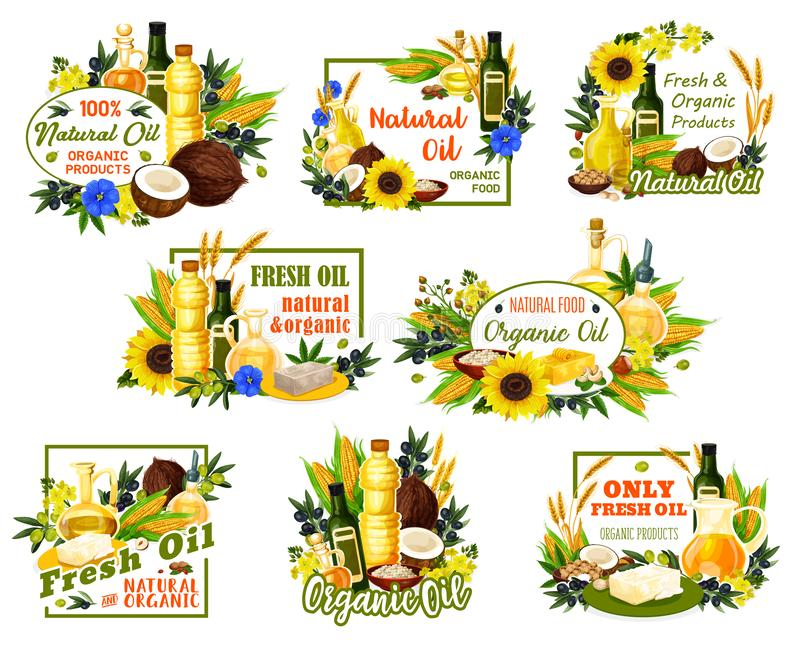 Girasoli e prodotti petroliferi di olio d'oliva organici illustrazione vettoriale