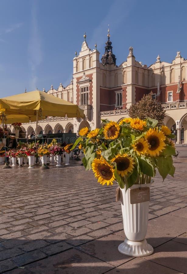 Girassóis bonitos e outras flores na venda no mercado principal em Krakow, Polônia foto de stock