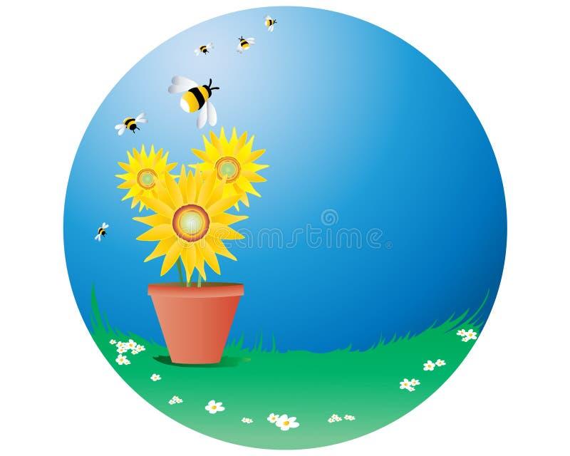 Girassóis com abelhas ilustração royalty free