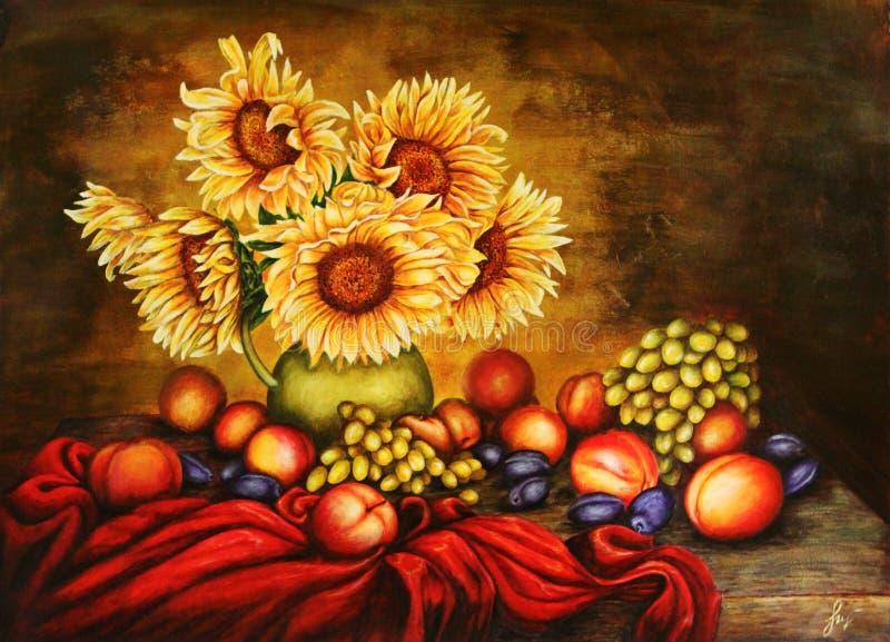 Girassóis Flores em um jarro com frutos Pintura Arte -final ilustração royalty free