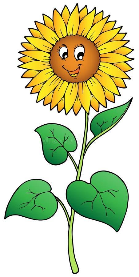 Girassol bonito dos desenhos animados ilustração royalty free