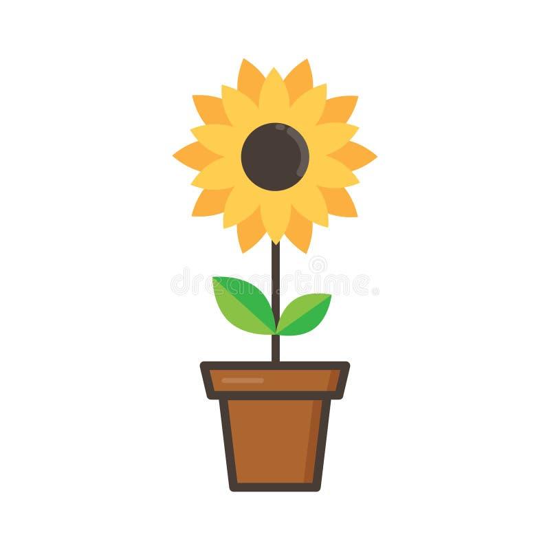 Girassol Bonito Dos Desenhos Animados Em Um Vaso De Flores Em Um