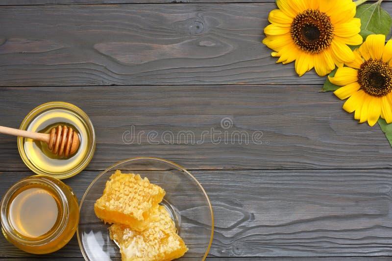Girassol com mel, dipper do favo de mel e do mel na tabela de madeira escura Vista superior com espaço da cópia imagens de stock