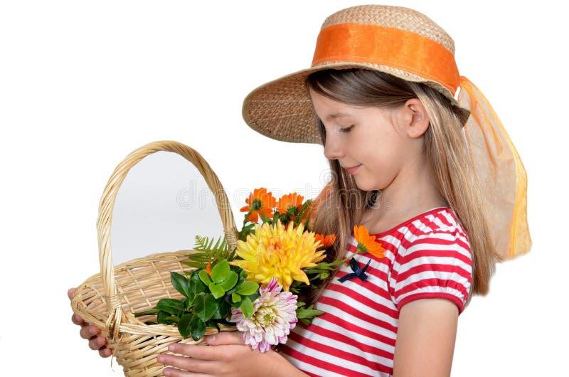 Girassol engraçado do chapéu da menina fotografia de stock royalty free