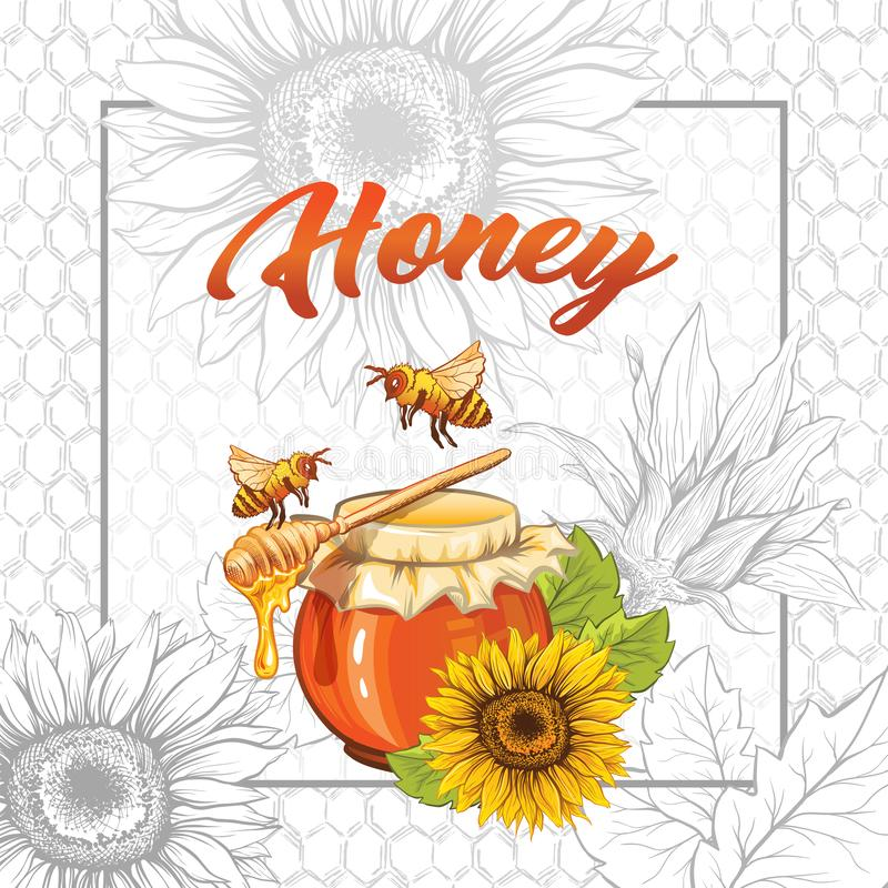 Girassol Honey Print Template Bandeira amarela e alaranjada ilustração royalty free