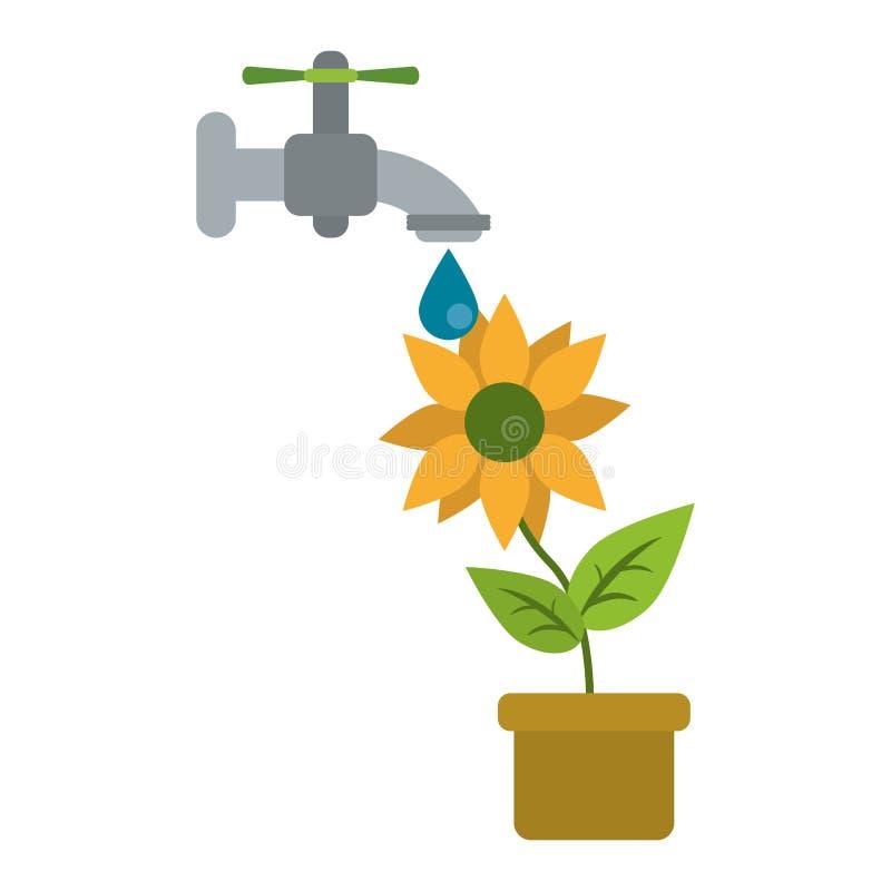 Girassol sob o torneira de água ilustração stock