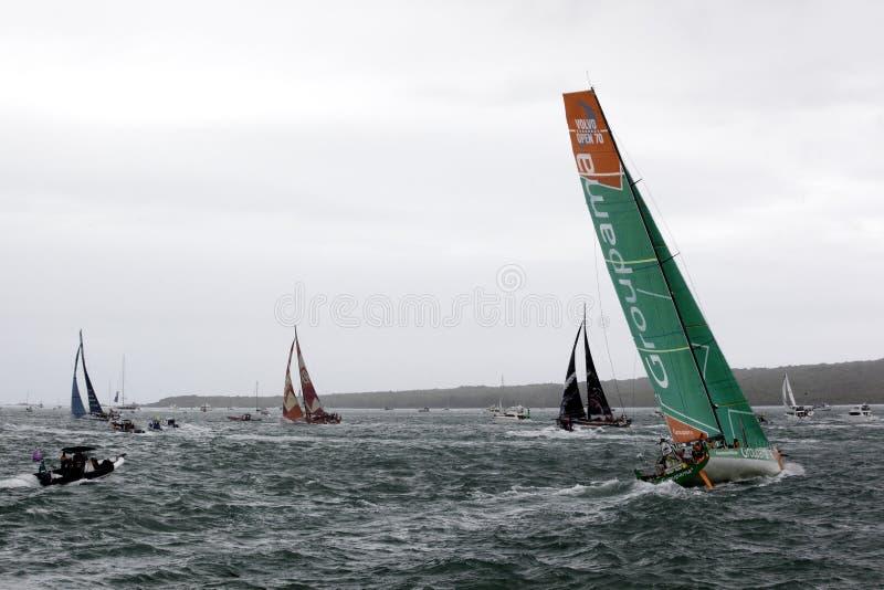 Girata finale - corsa Nuova Zelanda dell'oceano di Volvo fotografia stock