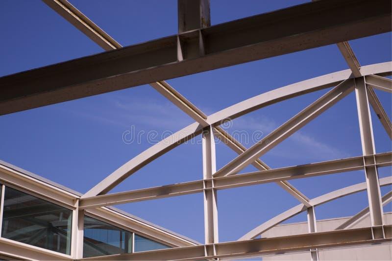 Girders sky windows. Open Air steel girder roof over University building at UC Davis royalty free stock photos