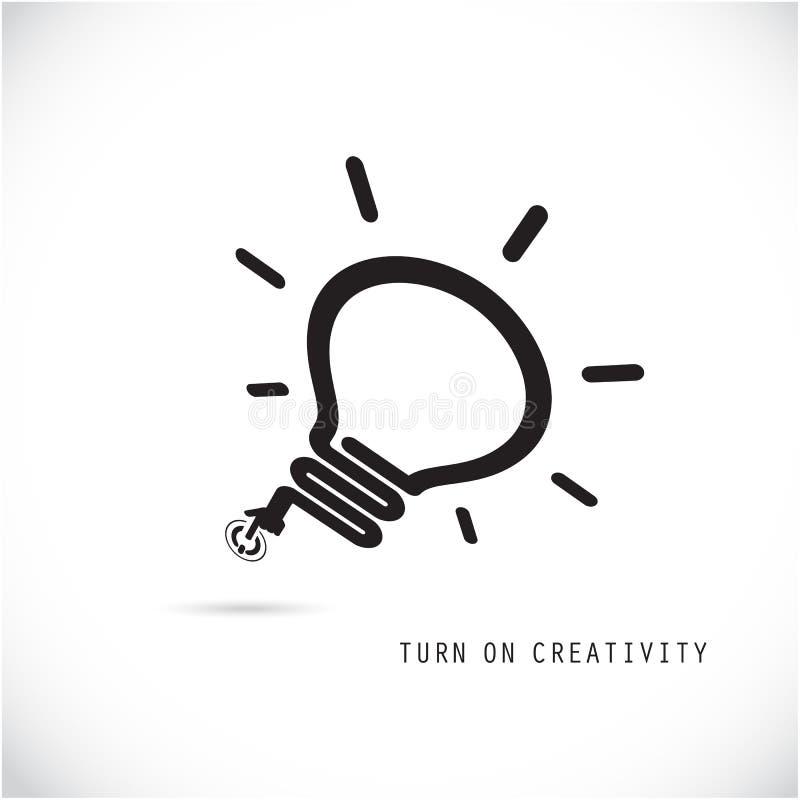 Gire el concepto creativo de la bombilla Idea y educación del negocio ilustración del vector