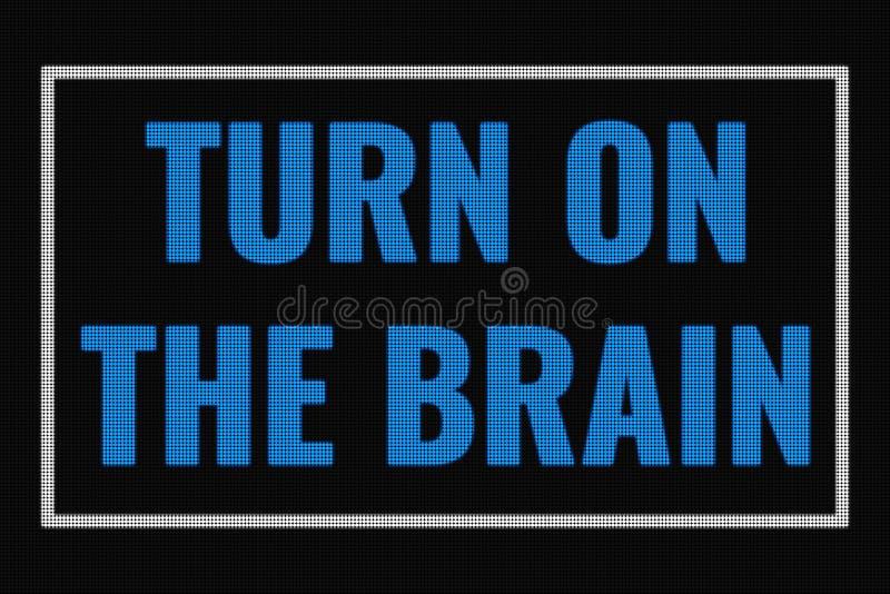 Gire el texto del cerebro en la pantalla oscura imágenes de archivo libres de regalías