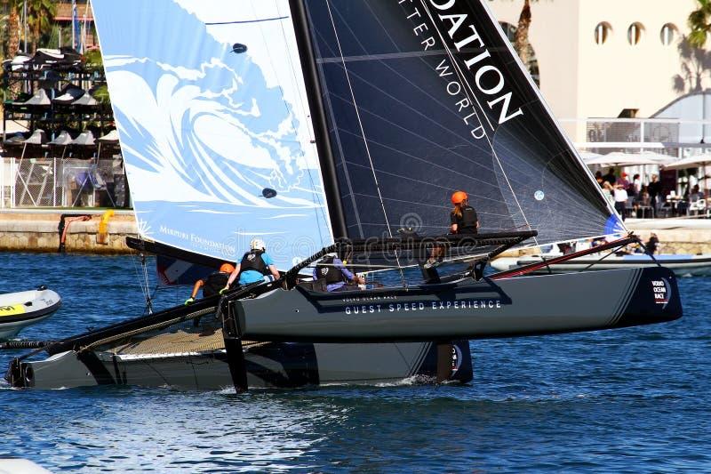 Gire a equipe da maré da formação dos catamarãs de ProAM 32 foto de stock