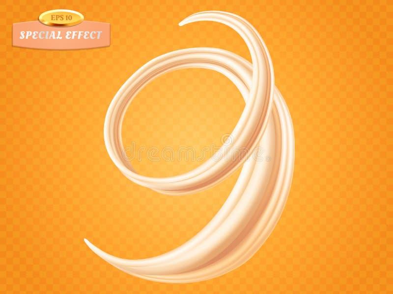 Gire la crema o la leche líquida en fondo anaranjado Efecto especial del flujo del vector Elemento del diseño de empaquetado para stock de ilustración