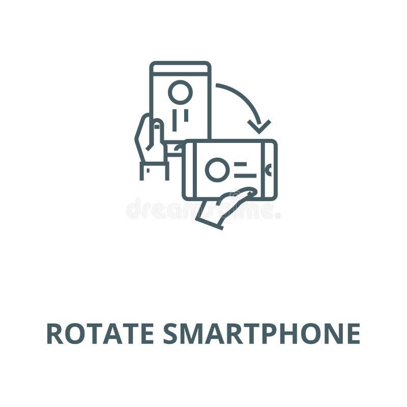 Gire la línea icono, concepto linear, muestra del esquema, símbolo del vector del smartphone libre illustration