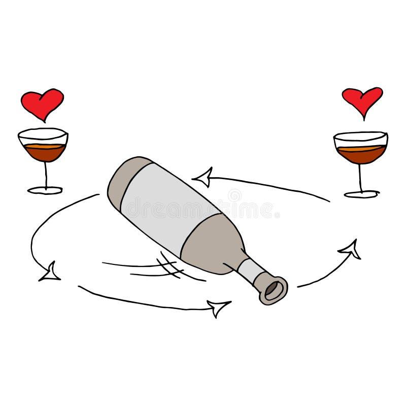 Gire o jogo da garrafa ilustração stock